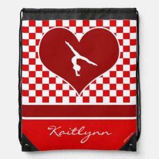 Rich Red Checkered Gymnastics with Monogram Drawstring Bag