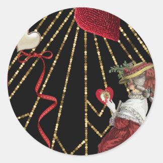 Rich Reds Marie Antoinette Fashion Valentine Classic Round Sticker