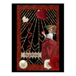 Rich Reds Marie Antoinette Fashion Valentine Postcard