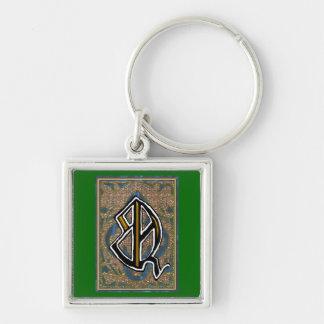 "richard ""Q"" monogram Silver-Colored Square Key Ring"