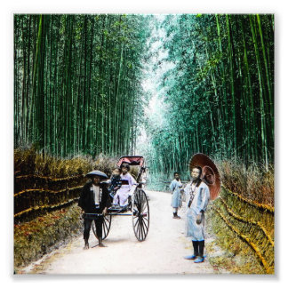 Rickshaw on the Road to Kyoto Japan Vintage Photo