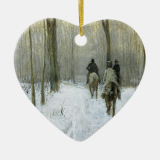 Riders in the Snow in the Haagse Wood, Anton Mauve Christmas Ornament