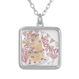 Ridiculously Delicious Wedding Cake Silver Plated Necklace