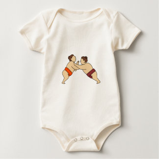 Rikishi Sumo Wrestler Pushing Side Mono Line Baby Bodysuit