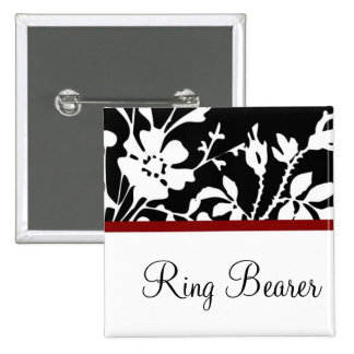 Ring Bearer Black and White Floral Button