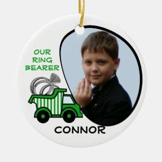 Ring Bearer Dump Truck Photo Green Christmas Ornament