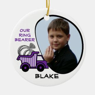 Ring Bearer Dump Truck Photo Purple Christmas Ornament