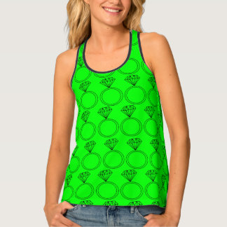 Ring Bling Tank- Neon Green Singlet