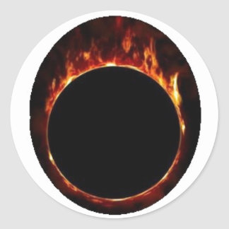 ring fire ball round sticker