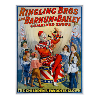 Ringling Brothers & Barnum & Bailey Vintage Clown Poster