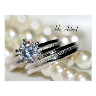 Rings and Pearls Engagement Announcement Postcard