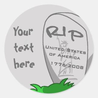 RIP America Round Sticker