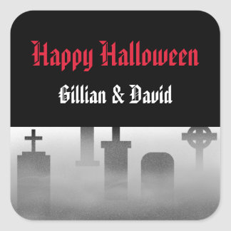 RIP cemetery tombstone foggy happy halloween favor Stickers