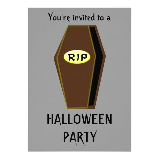 RIP Coffin of Doom Halloween Party Customizable Invitation
