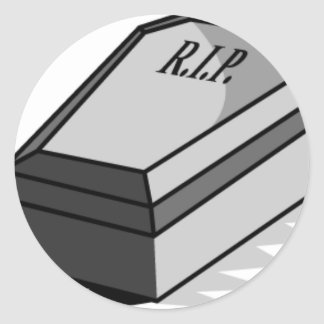 RIP Coffin Round Sticker