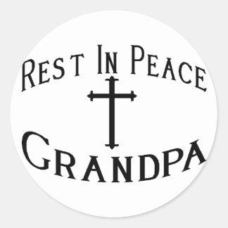 RIP Grandpa Round Stickers