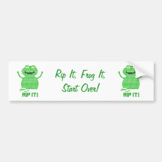 Rip It! Vector Crochet Frog Bumper Sticker