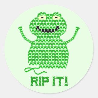Rip It! Vector Crochet Frog (Green Background) Round Sticker