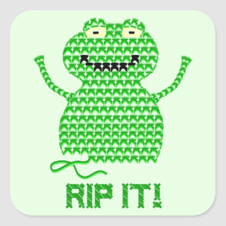 Rip It! Vector Crochet Frog (Green Background) Square Stickers