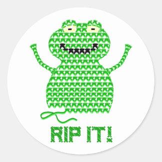 Rip It! Vector Crochet Frog Round Sticker