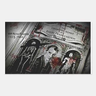 RIP Peter Cushing with Black Border aka Baron Fran Rectangular Sticker
