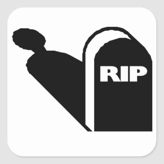 RIP - Rest In Peace Grave Ghost Memorial Square Sticker