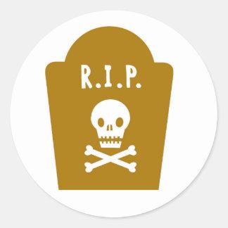 RIP Skull Round Sticker