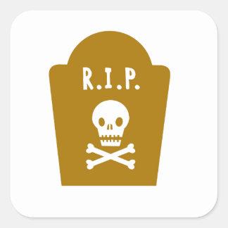 RIP Skull Square Sticker