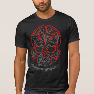 Ripped Chainsaw pinstriped skull T-Shirt