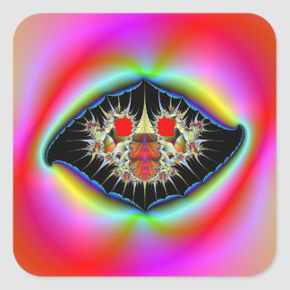 Ripped Psychedelic Frame Square Sticker