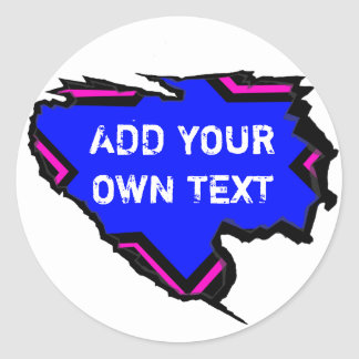 Ripped Star Template - Add Own Text Blue Pink Round Sticker