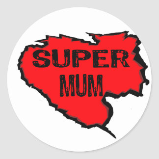 Ripped Super Mum- Black Text/ Red Round Stickers