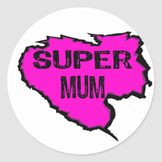 Ripped- Super mum -Pink Black Outline Round Sticker