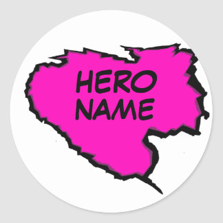 Ripped Template-Hero (Add Own Text) Black/pink Round Sticker