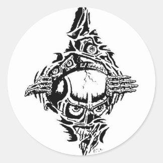 ripping skulls round sticker