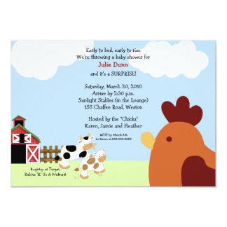Rise 'n' Shine Barnyard Cow Chicken Baby Shower 13 Cm X 18 Cm Invitation Card