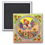 RISE & SHINE ROOSTERS by SHARON SHARPE Fridge Magnets