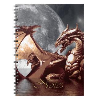Rising Sea Dragon & Moon Fantasy Art Spiral Note Book