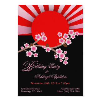 "Rising Sun Sakura Birthday Invitations 5"" X 7"" Invitation Card"