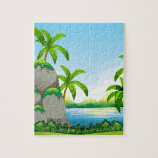 River scene with field and trees jigsaw puzzle