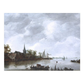 River View with a Village Church Postcard