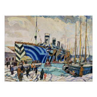 "RMS Olympic in Dazzle Camouflage 18x24"" poster"