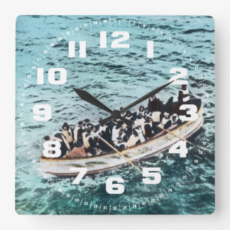 RMS Titanic Survivors in Lifeboats Vintage Square Wall Clock