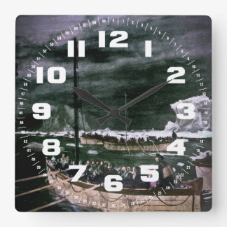 RMS Titanic Survivors in the Lifeboats Vintage Square Wall Clock
