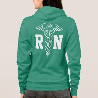 RN nurse zipped hoodie with caduceus symbol