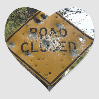Road Closed Sign Heart Sticker