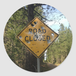 Road Closed Sign Round Sticker