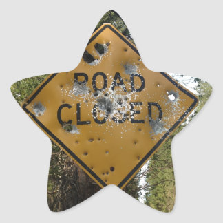 Road Closed Sign Star Sticker