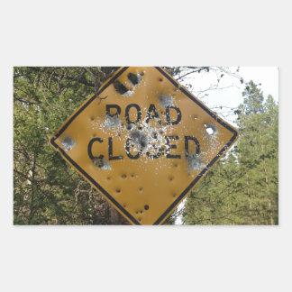 Road Closed Sign Rectangular Sticker