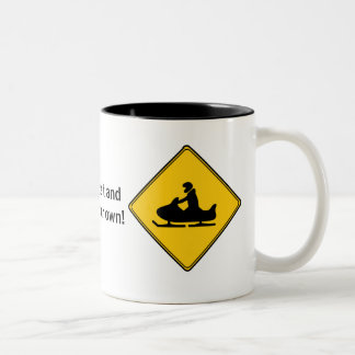Road Sign- Snowmobile Two-Tone Coffee Mug